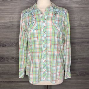 Ariat Western Snap Button Down Shirt size L
